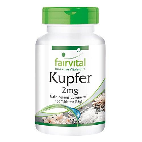Kupfer Tabletten 2mg - HOCHDOSIERT - VEGAN - 100 Tabletten - Nahrungsergänzung als Kupferbisglycinat