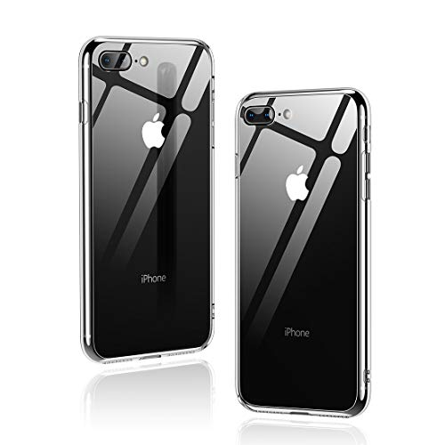 Humixx iPhone 8 Plus Hülle,iPhone 7 Plus Hülle,Hochwertigem 9H Gehärtetem Glas Rückseite mit TPU Rahmen Schutzhülle, Ultra Dünn Transparent Handyhülle,Perfekter Schutz Hülle für iPhone 7/8 Plus - Klar