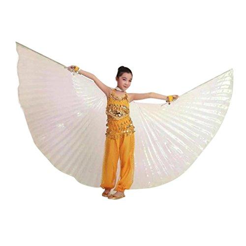 erthome Kinder Kinder Ägypten Bauchtanz Flügel Kostüm Zubehör Keine Sticks (Silber, 100cm/39.4