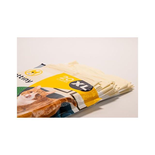 Pettiny 20 Sacs XL à Litière pour Chat avec Cordons de Serrage Doublures Résistantes aux Griffures pour Bac à Litière de Grande Taille