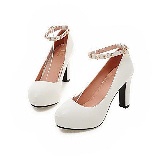 Material Weiches Rein Absatz Rund Weiß Schuhe Pumps Hoher Allhqfashion Schnalle Zehe Damen 5EWqWc8