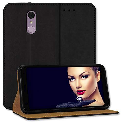 mtb more energy® Leder-Tasche Bookstyle für LG Q7+   Q7 Plus (5.5'')   schwarz   Echtleder   Schutz-Case Wallet Folio Cover Hülle