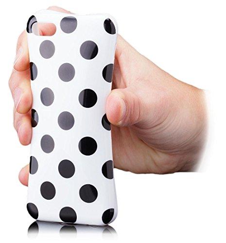Apple iPhone 5C | iCues pois TPU Case vert | [Protecteur d'écran, y compris] Mesdames Femmes Filles motif motif gel de protection en silicone peau Couvercle de protection Couvercle Coque Housse Sac Ét vert