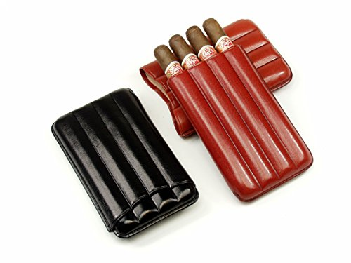 MONTECRISTO N.4 Portasigari in vera pella per quattro sigari (Nero)