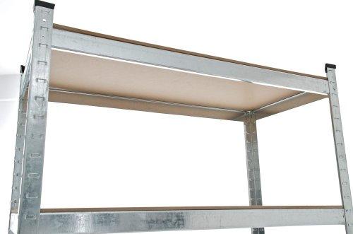 CLP Schwerlastregal, Metall, verzinkt, Tragkraft 875 kg, 5 Böden, Lagerregal Farbe + Höhe wählbar silber, 180 x 90 x 40 cm - 5