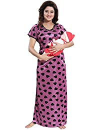 80b92db4cef TUCUTE Women s Beautiful Heart Print with Invisible Zip Feeding Maternity Nursing  Nighty Nightwear
