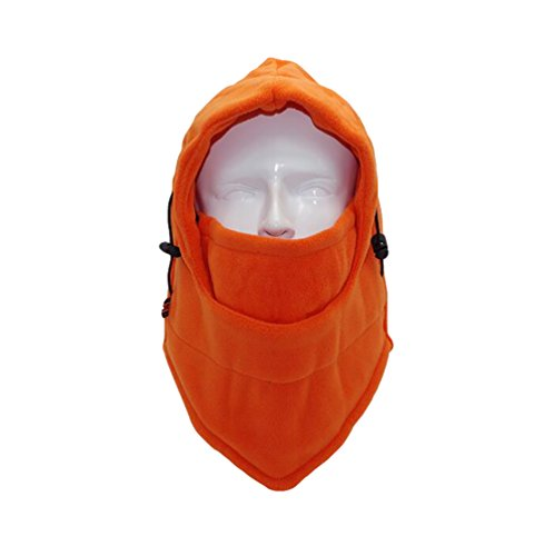 Baymate Unisexe Cagoule Masque de Ski Épaissir Masque De Moto Bonnet Hiver Casquette Masque Orange