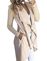 cardigans mujer otoño Sannysis cardigans mujer lana kimono mujer larga elegante chaquetas de mujer invierno kimono abierto (Beige, S)