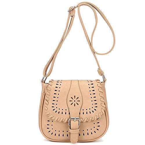 Damen-nieten-satchel (BeAllure Damen Vintage Satchel Hollow Bag Damen PU Leder Crossbody Schultertasche Geldbörse mit verstellbarem Träger, Beige (beige), Einheitsgröße)