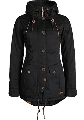 DESIRES Annabelle Damen Winterjacke Parka mit hochabschließendem Kragen und Kapuze aus hochwertigem Material, Größe:M, Farbe:Black (9000)