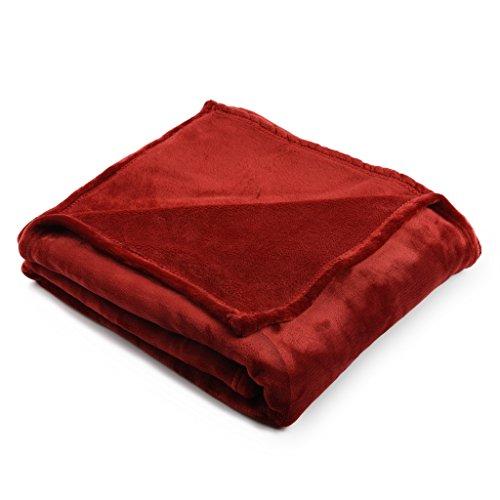 HT&PJ Kuscheldecke XXL 150x200 cm, Cashmere-Touch Wohndecke, flauschig weiche , 380g/m² Flannel-Fleece, Wein Rot
