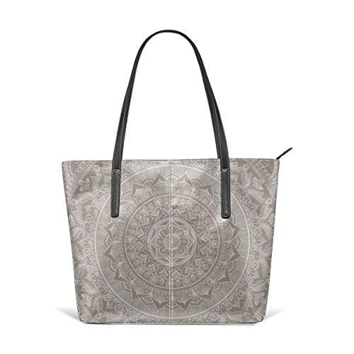 xcvgcxcbaoabo Bolsos de moda Tote Bag Top Handle Shoulder Bags Mandala taupe Leather Tote Large Purse Shoulder Bag Portable Storage HandBags Convenient Shoppers Tote