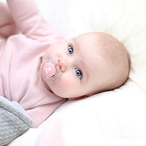 LOVI 2x Chupete Silicona para Beb/és de 3-6 meses Protege el Reflejo Natural de Succi/ón de Beb/é I Love Colecci/ón Cubierta Higi/énica Efecto Calmante
