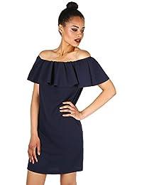 KRISP® Damen Bardot Bodycon Kleid