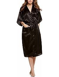 Dolamen Mujer Vestido Kimono Satén, Camisón para mujer, Lujoso Robe Albornoz Dama de honor Ropa de dormir Pijama, Estilo largo