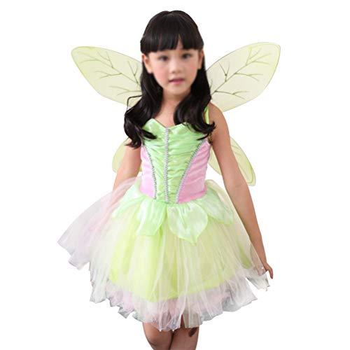 Fenical Fee Kostüm Mächen Prinzessin Kostüm Prinzessin Tutu Kleid mit Flügel 125-140cm Größe L (Grün)