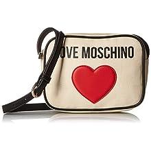 Love Moschino Borsa Canvas E Pebble Pu, Sac porté main femme, Noir (Nero), 7x15x20 cm (W x H L)