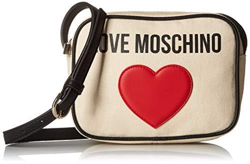 ac8b70e48f7 Love Moschino - Borsa Canvas E Pebble Pu, Bolso de mano Mujer, Negro (