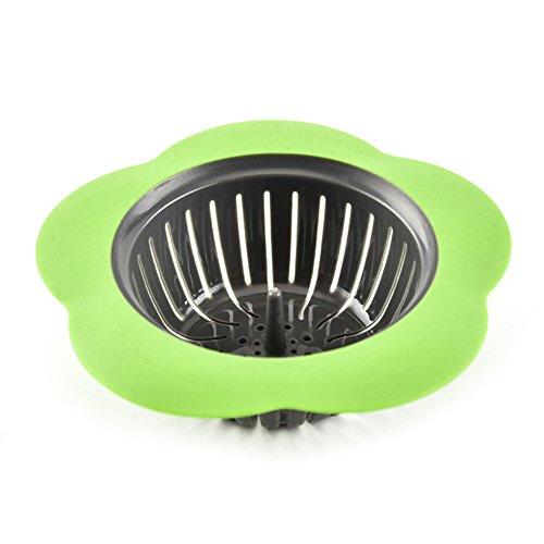 Waschbecken Sieb Waschbecken Abflüsse Werkzeuge Kanalisation Haar Filter Waschbecken Sieb Duschablauf Silikon TPR Mit Abdeckung Blume Geformt(Grün)