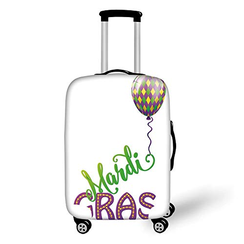 Travel Luggage Cover Suitcase Protector,Mardi Gras,Illustration of Cartoon Mardi Gras Color Balloon with Swirl Ribbon Decorative,Purple Green Yellow,for Travel -
