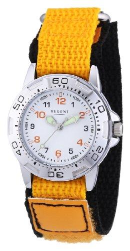 Regent 12400207 - Reloj analógico de cuarzo unisex con correa de tela, color naranja