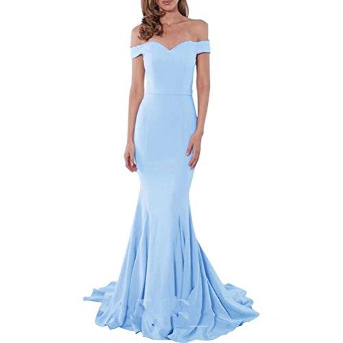 Sexy Ab-Schulter Abendkleider lang Elegant fur Hochzeit Meerjungfrau aus Schulter Sweep Zug lange Prom Kleid NaXY Party Prinzessin Kleid Sky Blau Size 38 (Sweep Prinzessin)
