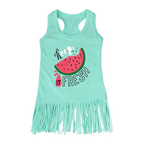 Hirolan Baby Wassermelone Kleid Quaste Outfits (100, (Kids Wassermelone Kostüme)