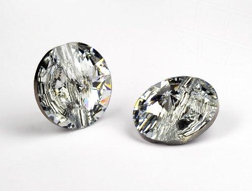 Kristall Knopf von Swarovski Elements rund  10mm (Crystal), 18 Stück