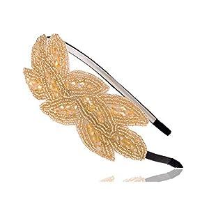 Alilang Gunmetal Pailletten Perlen Blumenblatt Strauß Retro Flapper Blitzend Mode Haar Hauptband Haarband Haarreif