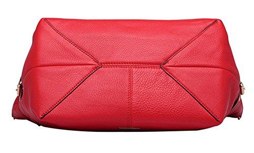 Xinmaoyuan borse Donna Donna spalla singolo croce obliqua Bag Zipper locomotiva capacità grande borsa in pelle in stile retrò borsetta,rosso Rosso