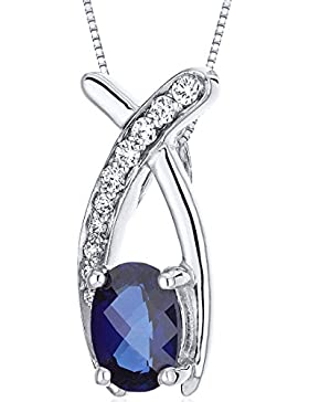 Revoni Damen Halskette 925 Sterling Silber Saphir 1.91 cm blau PER-SP10052