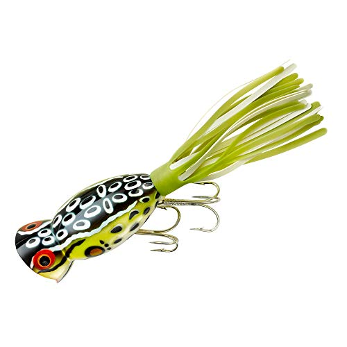 Arbogast Hula Popper, Cricket Frog/Chartreuse/White Skirt -
