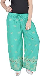Soundarya Womens Green Cotton Palazzo (EPP9_Aqua Green)