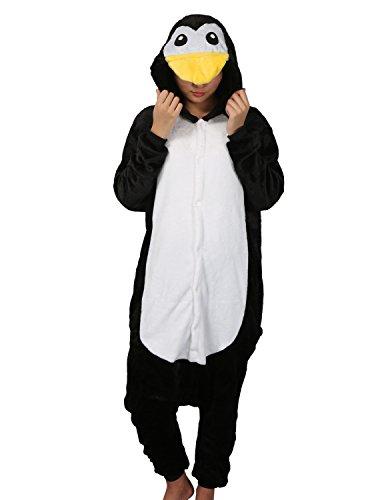 Pyjama Unisexe Adulte Kigurumi Combinaison Animaux Combinaison Cosplay Ensemble (S, Pingouin)