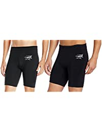 Combat High Quality Stretchable, Men & Women-Black Gym/Sports/Yoga Tight Skin Shorts-Pack Of (2)