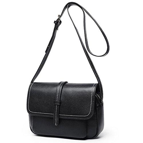 ZCJB Kleine Tasche Weibliche Frauen Tasche Leder Mode Wild Hit Farbe Kleine Quadratische Paket Schultertasche Umhängetasche ( Farbe : Schwarz ) Schwarz