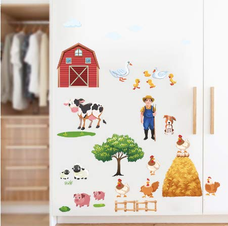 Cartoon Farm Animals Wall Stickers Duck Pig Hen Cows Tree Village Living Room Bedroom Wall Decals Poster Mural wallpaper (Art Glass Duck)