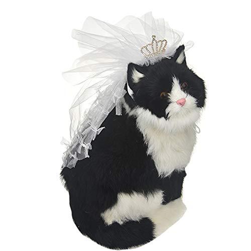 FLAdorepet Hochzeitskleid, Schleier für kleine und große Hunde, Haustiere, Katzen, Braut, Outfits für Labrador, Bulldogge, Yorkie, L, weiß