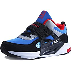 HAP JUMP Sneakers Enfant Baskets Montantes Garcon Chaussure de Course Mode Garcon Fille Sport Running Shoes Competition Entrainement - Bleu-noir2 - EU=27 CN