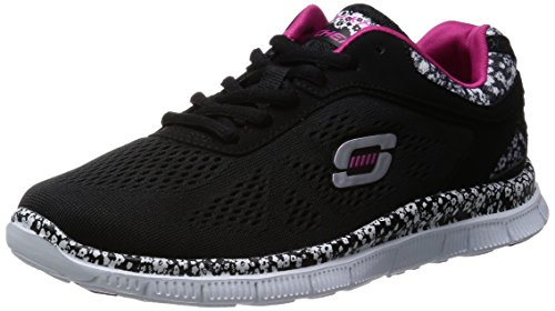 Skechers Women's Flex Appeal Island Style Trainers, Black, 8 UK