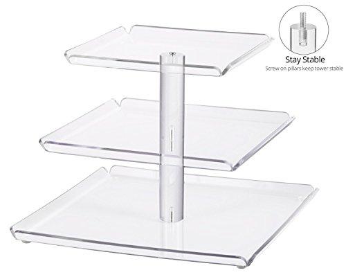 Utenlid acrílico 3-Tier apilados soporte de tartas cuadrado con fronteras y estable para atornillar, pilares–niveles Cupcake soporte/magdalena Torre