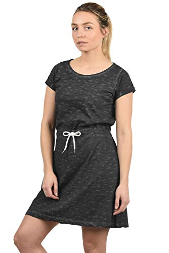 DESIRES Birdy Damen Jerseykleid Shirtkleid Kleid Mit Rundhals Aus 100% Baumwolle Midi, Größe:L, Farbe:Black (9000) -