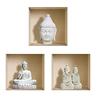 The Nisha Art Magic 3D Vinyl Removable Wall Sticker Decals DIY, Set of 3, White Buddha 1006