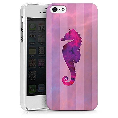 Apple iPhone X Silikon Hülle Case Schutzhülle Seepferdchen Pink Sommer Hard Case weiß
