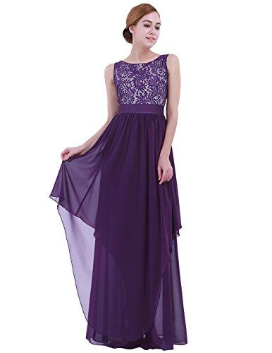 iEFiEL Vestido de Cóctel Fiesta Boda para Mujer Vestido Largo Floreado de Noche Gala Mujer Dama de Honor Morado Oscuro XXL (Pecho: 100-106cm, Cintura: 86cm)