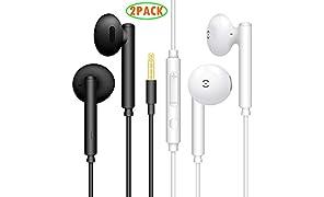 [2Pacco, Nero + Bianco]MAS CARNEY - Auricolari stereo con cavo, controllo del volume e microfono per smartphone Samsung Huawei