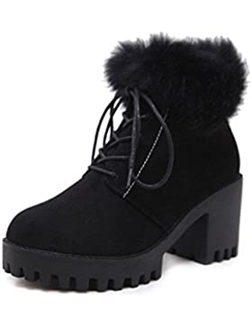 KUKI Zapatos femeninos, Botas femeninas, Botas, Botas Martin, Negro, Cordones, Tacón grueso, Zapatos de plataforma...