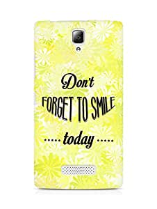Amez Dont forget to Smile Today Back Cover For Lenovo A2010