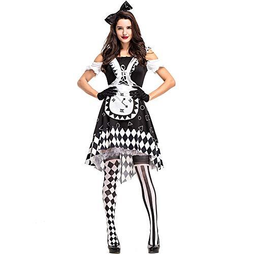 XUDSJ Halloween,Lack Kleid,hexenkostüm, Halloween Party Kostüme Damen Schwarz Und Weiß Plaid Clown Party Tutu Ball Kostüm Halloween Kleider (Color : Black White, Size : XL) -