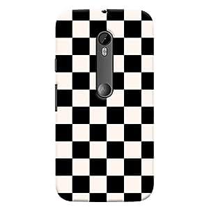 ColourCrust Motorola Moto G3 Mobile Phone Back Cover With Black and White Checks Pattern Style - Durable Matte Finish Hard Plastic Slim Case